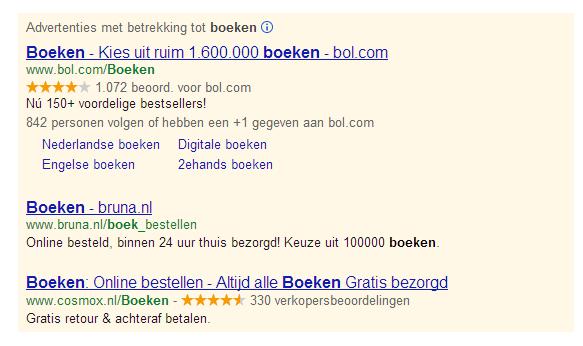 Gele sterren in Google AdWords